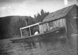 "[The steam launch ""Dart"" at a logging camp]"