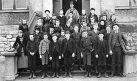 [The Entrance Class of Vancouver High School on the steps of Central School]
