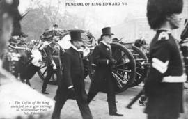 Funeral of King Edward VII - the coffin of the king conveyed on a gun carriage to Westminster Hall