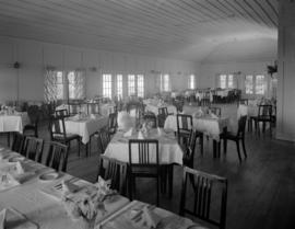 [Interior of a dining room at a banquet hall]