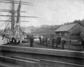 "[""Thermopylae"" sailing ship (clipper barque) loading lumber at Brunette Sawmill at Sapp..."