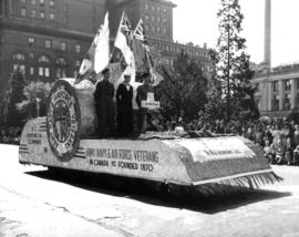 Army, Navy and Air Force Veterans float in 1947 P.N.E. Opening Day Parade