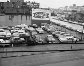 [View of parking lot located on Main Street between Alexander and Powell Streets]