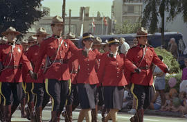 Royal Canadian Mounted Police marching in Sea Festival Parade