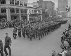 World War II parade on Burrard Street