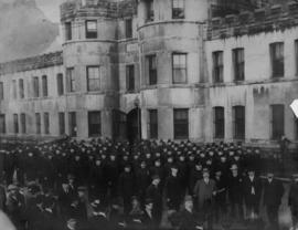[Police officers assembled for parade for funeral of P.C. 202 Archibald at Beatty Street Drill Hall]
