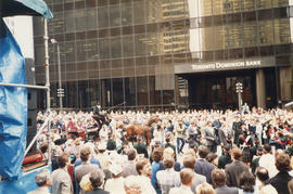 Castle Vancouver opening crowd in front of Toronto Dominion Bank building