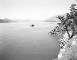 [View of Howe Sound from West Vancouver showing Hood Point, Bowyer Island and Whytecliffe]