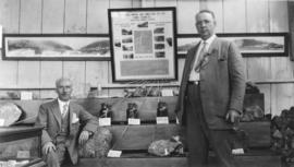 Vancouver Ex. [Exhibition - Frank E. Woodside and unidentified man at mining exhibit]