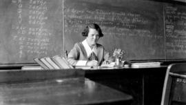 Marion Lawrence, teacher, in her classroom where she taught Greek