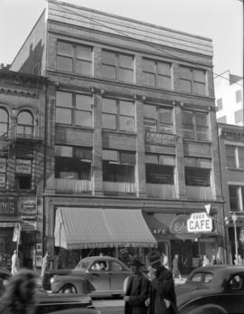 [View of the 500 block of Granville Street showing the Eden Cafe, Wilson's Hosiery and other...