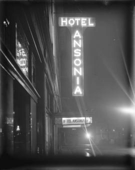[Illuminated sign for Hotel Ansonia]