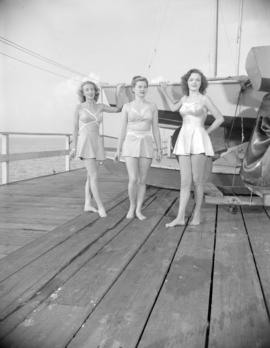 [Women modeling bathing suits on the wharf at the Royal Vancouver Yacht Club]