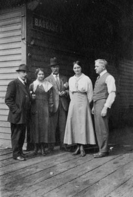 [A.S. de Grouchy, unidentified woman, Captain Sandy Walker, Madge Hishmoor and John Galt]