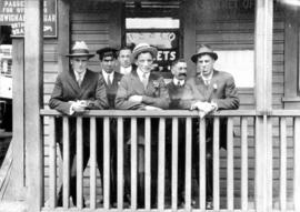 [James Crookall with other Union Steamship Company employees in front of the office]