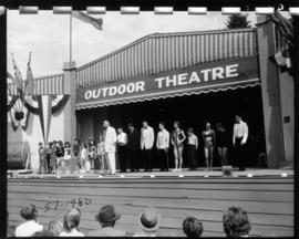 Performers lined up on Outdoor Theatre stage