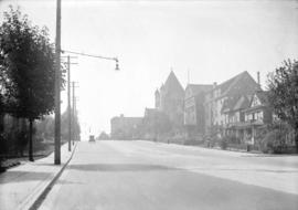 [View of Burrard Street, showing houses, Glencoe Lodge, and Wesley Methodist Church (later St. An...