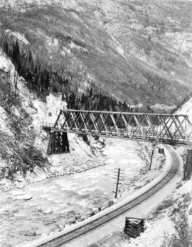 [View of the Trans Canada highway bridge over the Kicking Horse River and Canadian Pacific Railwa...