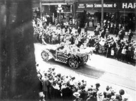 [New Westminster Queen of the May float in the 600 Block of Granville Street during a Victoria Da...