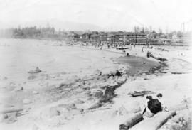 View of Kitsilano Beach, original bathhouse, gazebo and surrounding houses