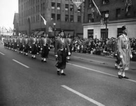 Gizeh Shriners marching in 1949 P.N.E. Opening Day Parade