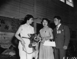 Japanese 4-H Club delegates Michiko Hikasa and Kazuyoshi Uematsu at P.N.E. Junior Farmer Show