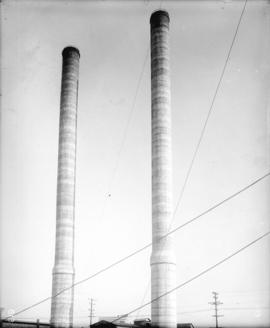 [Concrete stacks of the Vancouver Steam Plant]