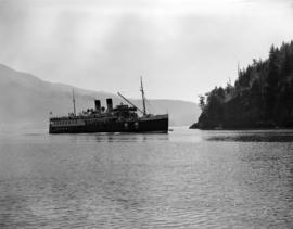 "[""Lady Alexandra"" passing by a coastal penninsula]"