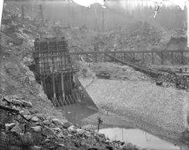 [Partially constructed Coquitlam Dam, showing upstream side of sluice tower]