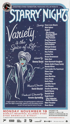 Starry night : variety is the spice of life : Monday, November 19 : Stanley Industrial Stage, 275...