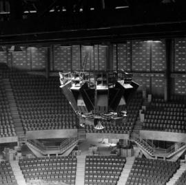Installation of speakers in Pacific Coliseum