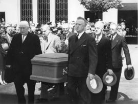 [Pallbearers carrying former mayor L.D. Taylor's casket]
