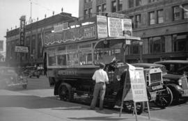"[London omnibus, ""Old Bill"", outside the Hudson's Bay Store during the Golden Jubi..."