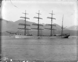 "[Four masted barque ""Olivebank"" at anchor near Hastings Mill]"