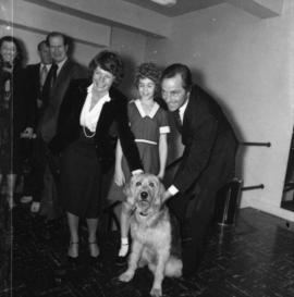 "Audrey Bennett, , cast member playing ""Annie"" and Bill Bennett with dog"