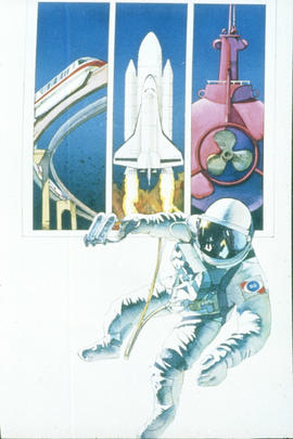 Astronaut, elevated rail, rocket ship and submarine