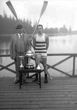 Vancouver Rowing Club Regatta, Coal Harbour [Mr. Bob Johnson an executive of V.R.C. with particip...