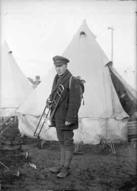 "Private [with trombone] 260th Battalion - ""C"" Company Willows Camp"