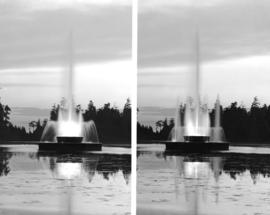 [Two views of the fountain at Lost Lagoon]