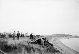 [Members of the B.C. Rifle Association at target practice at Clover Point]