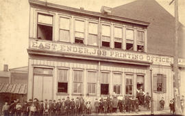 [Exterior of the East Ender Job Printing Office and J.B. Richards Notary Public building]