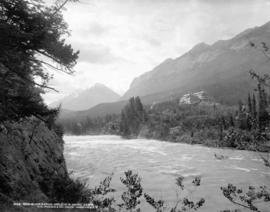Bow River Rapids and C.P.R. Hotel, Banff