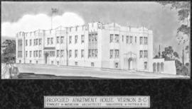 [Photograph of plan for proposed apartment house, Vernon B.C.]