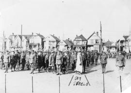 General Sam Steele inspects Cambie Street grounds (29th Battalion C.E.F.)