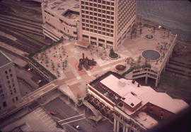 Granville plaza and CPR station from Harbour House