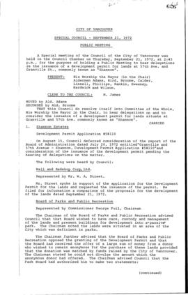 Special Council Meeting Minutes : Sept. 21, 1972