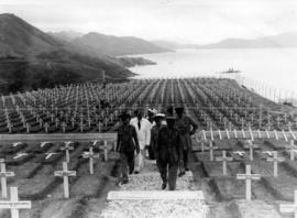 Sai Wan Bay War Cemetery, Canadian Liaison Mission to Japan returns from wreath placing