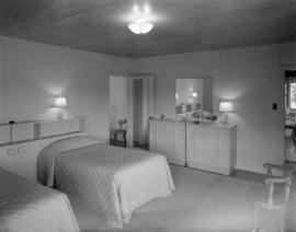 [Interior view of a bedroom at Haulterman House on Bowen Island]