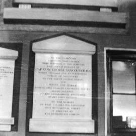 [Plaque in memory of Captain George Vancouver inside an English church]
