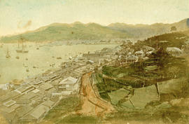 [Bird's eye view of boats on a large body of water, with houses on the shore and mountains in the...